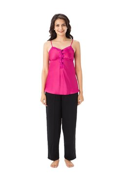 PrettySecrets Pink & Black Lace Polyester Top & Pyjama Set