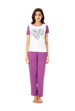 PrettySecrets Ivory & Purple Cotton Top & Pyjama Set