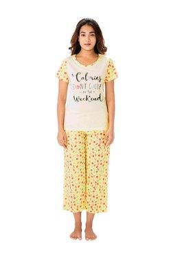 PrettySecrets Lemon Macaroons Cotton Top & Capri Set