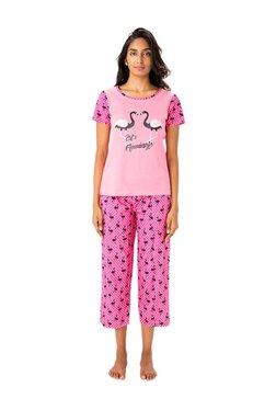 PrettySecrets Pink Graphic Print Cotton Top & Capri Set