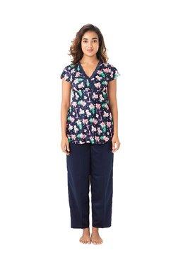 PrettySecrets Navy Floral Print Polyester Top & Pyjama Set