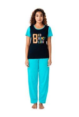 PrettySecrets Navy & Turquoise Cotton Top & Pyjama Set