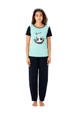 PrettySecrets Mint & Navy Cotton Top & Pyjama Set