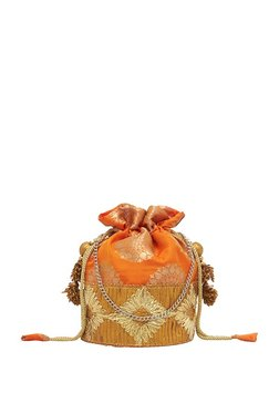 Tarusa Tangy Orange & Golden Embroidered Silk Potli