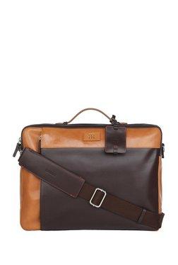 Raymond Dark Brown & Tan Solid Large Laptop Messenger Bag