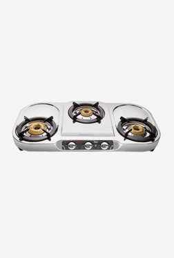 Preethi Topaz SSGS 005 3 Burners Gas Stove (Silver)