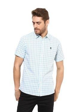 Red Tape Light Blue & White Half Sleeves Checks Shirt