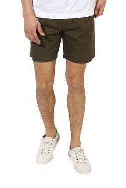 Red Tape Olive Mid Rise Shorts