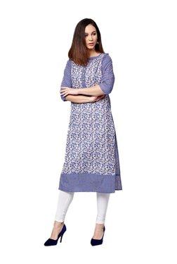 7609bb4a6 Jaipur Kurti Blue Printed Cotton Kurta