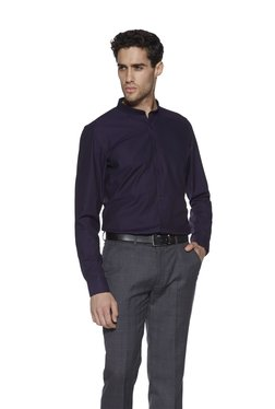 Weststreet By Westside Purple Band-Collar Slim Fit Shirt