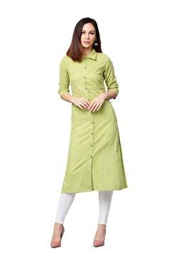 Jaipur Kurti Green Textured Cotton Slub Kurta