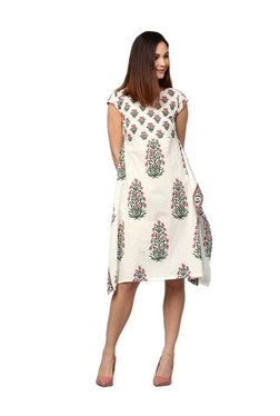 Jaipur Kurti Off White Floral Print Cotton Dress