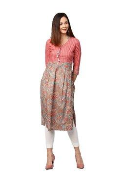 Jaipur Kurti Grey & Pink Floral Print Cotton Kurta