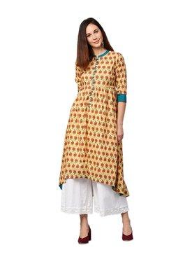 Jaipur Kurti Yellow Floral Print Cotton Kurta
