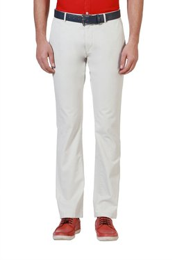 Allen Solly Off White Solid Mid Rise Trousers
