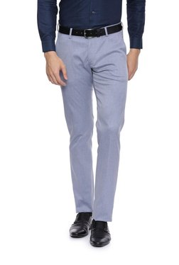 Allen Solly Light Blue Slim Fit Trousers