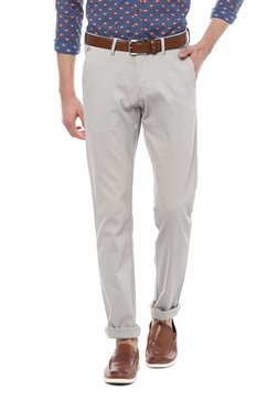 Allen Solly Light Grey Slim Fit Flat Front Trousers
