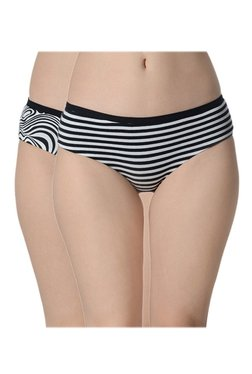Da Intimo White & Black Striped Reversible Bikini Panty (Pack Of 2)