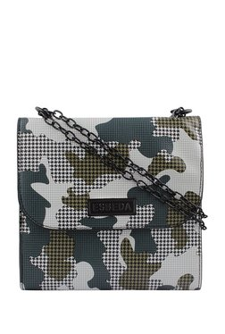 Esbeda White & Army Green Houndstooth Sling Bag