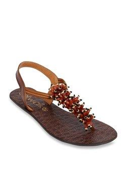 Catwalk Dark Tan T-Strap Sandals