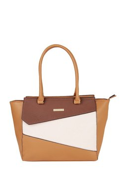 Addons Tan & White Color Block Trapeze Shoulder Bag