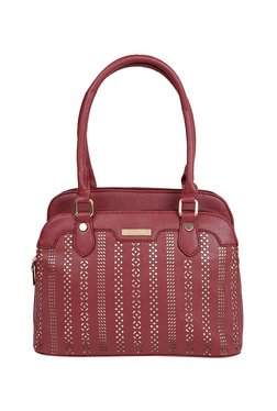 Addons Maroon Cut Work Shoulder Bag