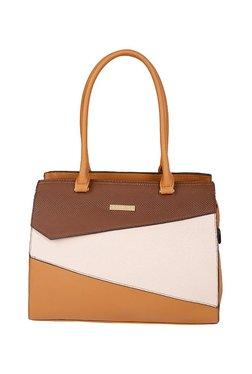 Addons Tan & White Color Block Laptop Shoulder Bag