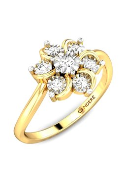 Candere By Kalyan Jewellers Fl Petals Miracle 18k Gold 0 05 Ct Diamond Ring