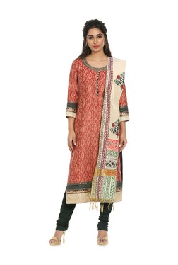 Soch Red & Black Printed Chanderi Kurta With Salwar