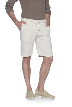ETA By Westside Beige Slim Fit Linen Shorts