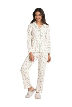 Zivame Cream Candyland Printed Cotton Top With Pyjamas
