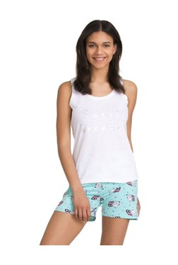 Zivame White & Blue Owl Printed Cotton Top With Shorts
