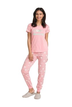 Zivame Pink Candyland Printed Cotton Top With Pyjamas