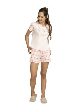 Zivame Pink Printed Sleepy Owl Cotton Top With Shorts