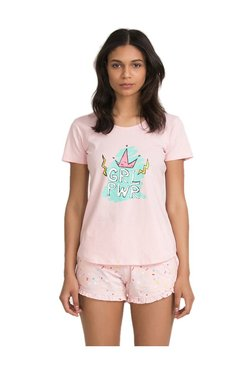 Zivame Pink Candyland Printed Cotton Top With Shorts