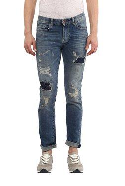 Celio* Stone Blue Slim Fit Distressed Jeans