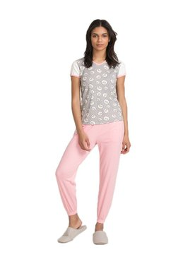 Zivame Grey & Pink Sheep Printed Cotton Top With Pyjamas