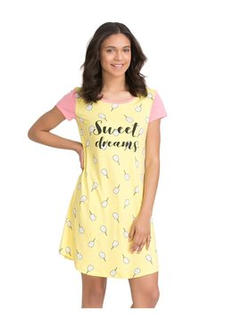 Zivame Yellow Candyland Printed T-Shirt Sleep Dress