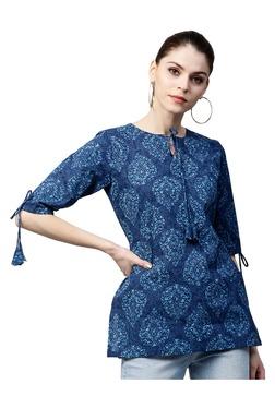 Gerua Blue Printed Cotton Straight Kurti