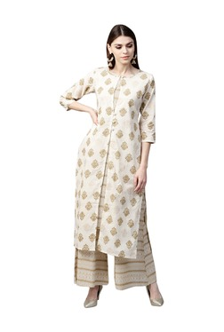 Gerua Off White Floral Print Cotton Kurta With Palazzo