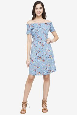 Globus Blue Floral Print Above Knee Dress