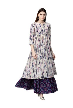 Gerua Off White & Navy Printed Cotton Kurta With Skirt