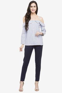 Globus Blue Slim Fit Cotton Trousers