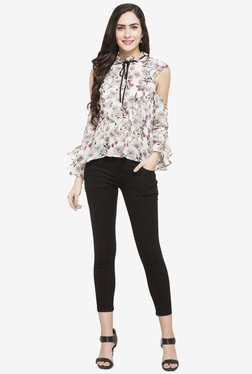 Globus Off White Floral Print Polyester Top