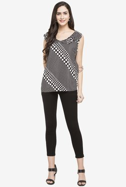 Globus Black & White Polka Dot Polyester Top