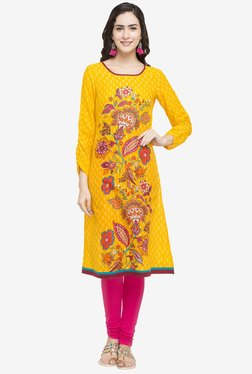 Globus Yellow Floral Print Cotton Kurta