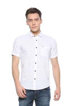 Peter England White Half Sleeves Checks Shirt