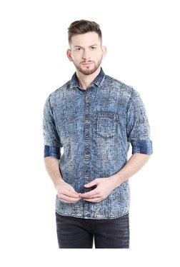 Killer Blue Printed Slim Fit Shirt fc0e1fa2e