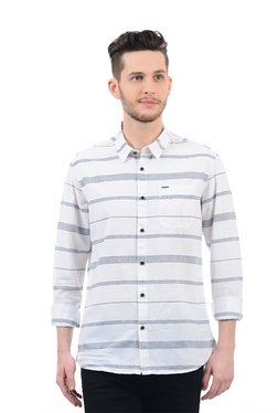 Pepe Jeans White Full Sleeves Regular Fit Shirt