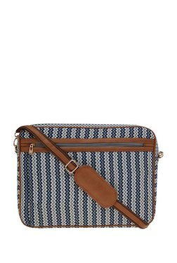 Tarusa Navy & Off-White Printed Fabric Laptop Messenger Bag